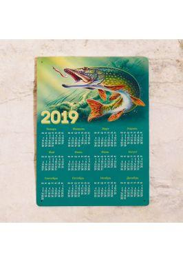 Металлический календарь на 2019 г.  Щука