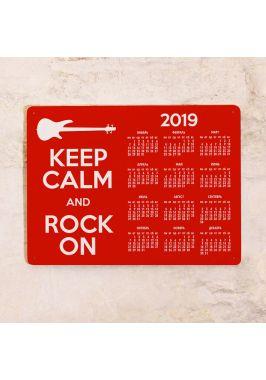 Жестяной календарь Keep calm and rock on