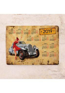 Календарь с магнитным курсором  Pin-up girl car