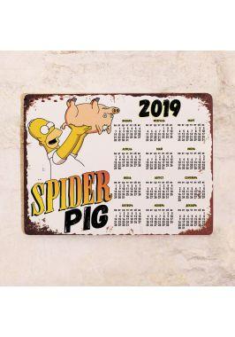 Металлический календарь SpiderPig 2019