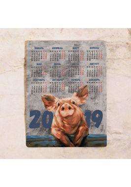 Металлический календарь 2019 год Свиньи