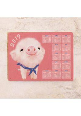 Металлический календарь 2019 Поросёнок