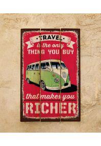 Деревянная табличка Travel