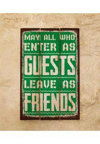 Деревянная табличка Leave as friends