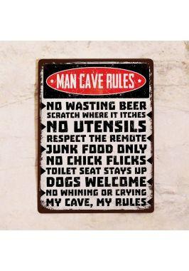 Табличка Man cave rules