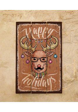 Деревянное панно Happy holidays