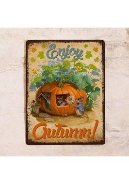 Жестяная табличка для осеннего декора с тыквами на Хэллоуин