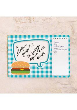 Табличка с блокнотом Скатерть и бургер