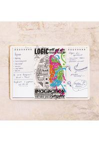 Табличка с блокнотом Logic vs. Imagination