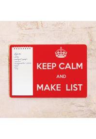 Табличка с блокнотом Keep calm and make lists
