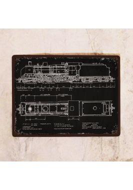 Жестяная табличка Чертеж паровоза