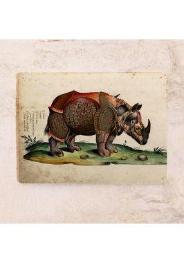 Винтажная табличка Гравюрный носорог