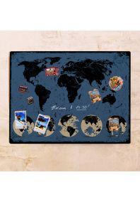 Синяя карта с потертостями  60х80 см