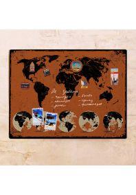 Оранжевая карта с потертостями  60х80 см