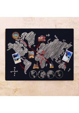 Магнитная доска с картой мира на стену