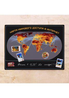 Карта мирового доступа в интернет  60х80 см
