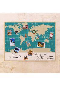 Карта мира с меридианами 60х80 см