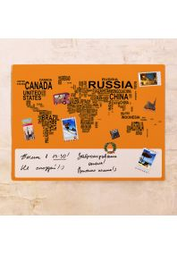Оранжевая карта-типографика  60х80 см