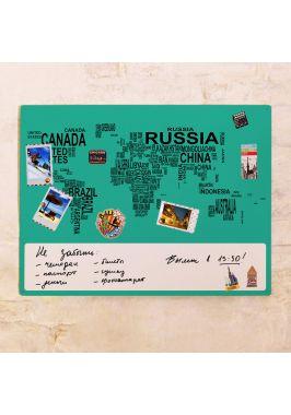 Бирюзовая карта-типографика  60х80 см