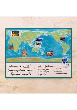 Яркая физическая карта мира  60х80 см
