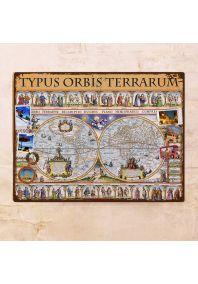 Старинная декоративная карта полушарий  60х80 см
