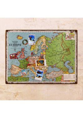 Винтажная карта Европы на стену