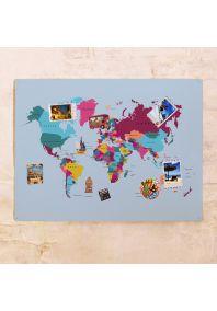 Цветная карта мира 60х80 см