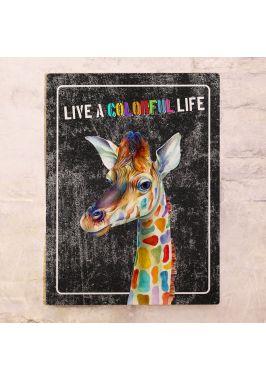 Жестяная табличка Цветной жираф