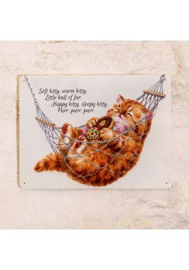 Жестяная табличка Soft kitty, warm kitty
