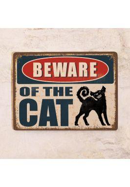 Жестяная табличка Beware of the cat