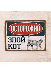 Табличка Злой кот - Серый (табби)