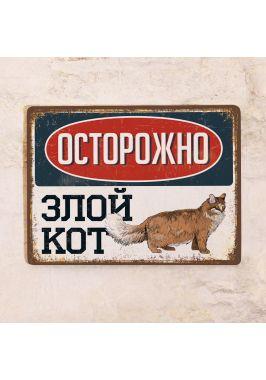 Табличка Злой кот - Пушистый