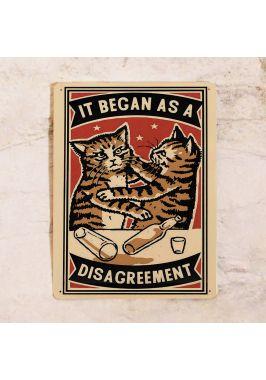 Жестяная табличка Кошачья драка