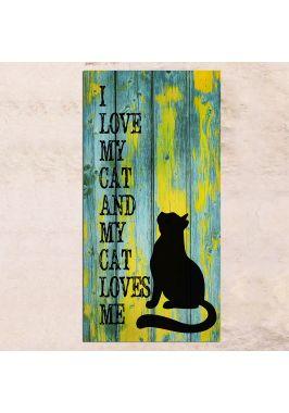 Панно на дереве I love my cat