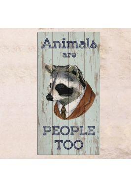 Панно на дереве Animals are people too