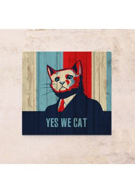 Панно на дереве Yes we cat