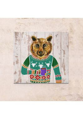 Панно на дереве Медведь в свитере