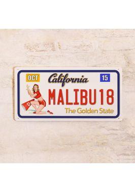 Сувенирный номер на авто Калифорния Малибу