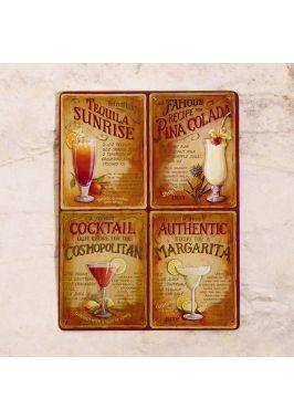 Жестяная табличка cocktails