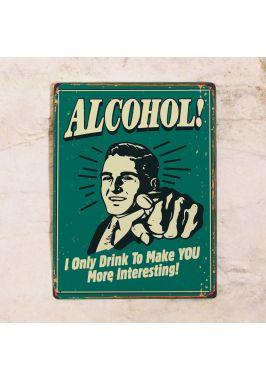 Металлическая  табличка Alcohol