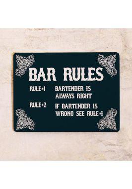 Жестяная табличка Bar rules