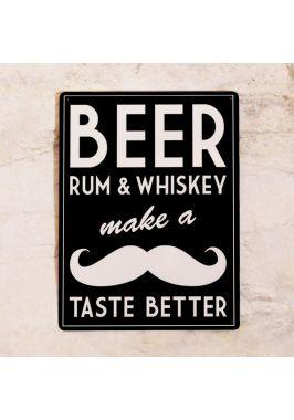 Жестяная табличка Пиво, ром, виски и усы