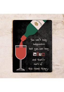 Жестяная табличка Happy wine