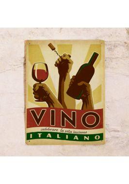 Жестяная табличка Vino