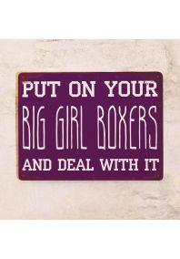 Винтажная табличка с надписью Big girl boxers
