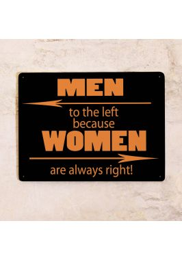 Жестяная табличка Men to the left