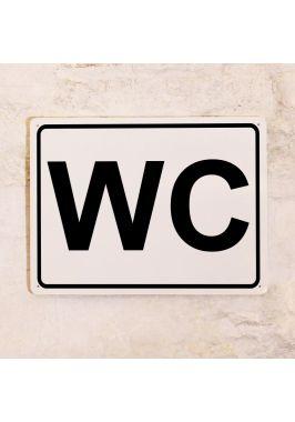 Табличка для туалета WC белая