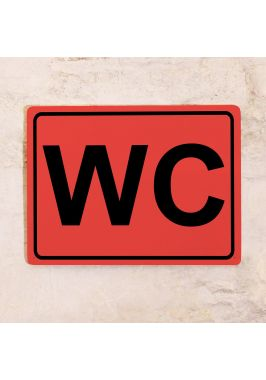 Табличка для туалета WC красная