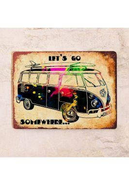 Жестяная табличка для гаража Hippy bus