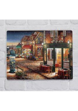Металлическая табличка  для декора интерьера гостиной Городская улица , металл, 20х30 см